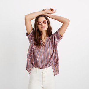 Madewell Courier Button-Back Shirt Rainbow